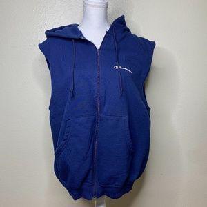 Champion blue hooded zip front sweat vest